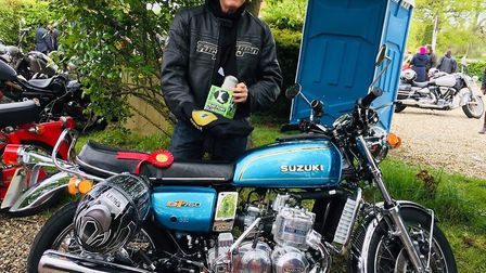 Best Bike winner John Ranson with his Suzuki at Beers, Bikes and Bands in Burston. Picture: Peter Ev