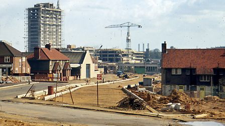 Civic Drive, Ipswich, under construction in April 1965. This photograph was taken from where the Han