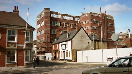 Falcon Street from the Old Cattle Market as the W. S. CowellÕs printing works was being demolished t