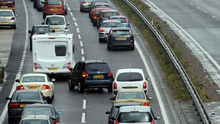 Delays on the A14 have been caused by a crash
