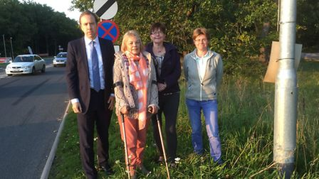 Wendy Chipping and fellow campaigners at the Fiveways roundabout