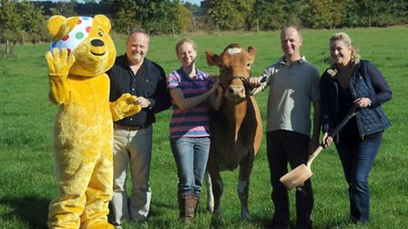 The launch of the Children in Need cow poo fundraiser at Suffolk Farmhouse Cheeses in Creeting St Ma