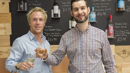 Tom Crittenden, right, manager of Adnams' new shop in Bury St Edmunds, with assistant manager Tom Le