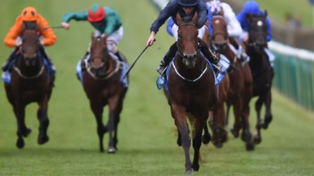 Air Force Blue ridden by Ryan Moore wins The Dubai Dewhurst Stakes during day two of the Dubai Futur