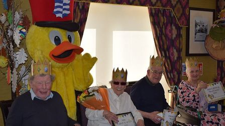 Residents at De Lucy House met Dinsdale the Diss Town Council Duck. Picture: De Lucy House