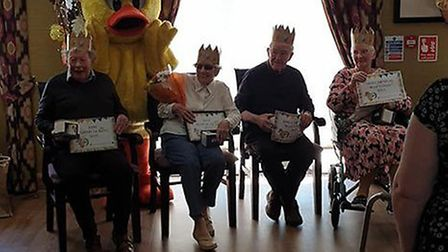 Residents at De Lucy carehome met Dinsdale the duck from Diss Town Council. Picture: Kimberly Jaynes