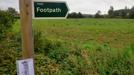 The area off Mount Pleasant in Framlingham which could see 95 new homes built on it.