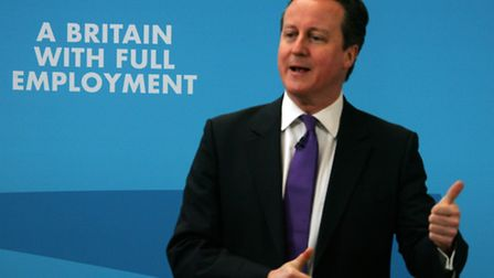 Thumbs up. David Cameron, pictured speaking in Ipswich during the General Election campaign earlier