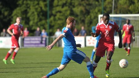 Emirates FA Cup Second Round Qualifying. Leiston FC v Tonbridge Angels. Patrick Brothers in action