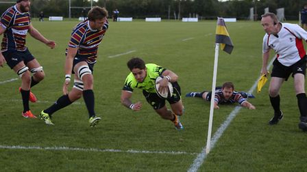 Clement Le Roy goes over for Bury's only try in their 46-11 defeat at Old Albanians