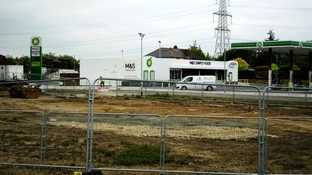 The completed new BP service station at the A140/A143 junction at Scole and in the forground the sit