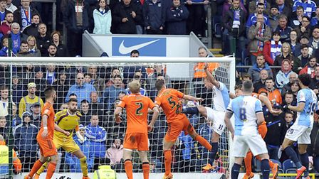 Jordan Rhodes scores against his old club during the first half at Blackburn
