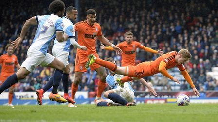 Teddy Bishop is fouled for Ipswich's second half penalty