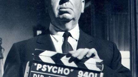 The Master of Suspense, Alfred Hitchcock pictured on the set of Psycho