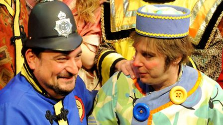 Andrew Fleming, right, is playing Wishee Washee in Aladdin at the Regent