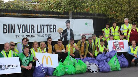 Love Essex campaign members from across Braintree district collect rubbish from along the A120