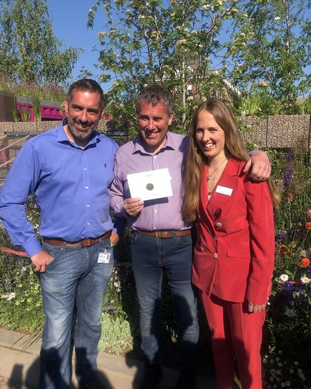 Jody Lidgard with Rose Gore Browne, Chelsea Flower Show manager, after winning gold for his Montesso