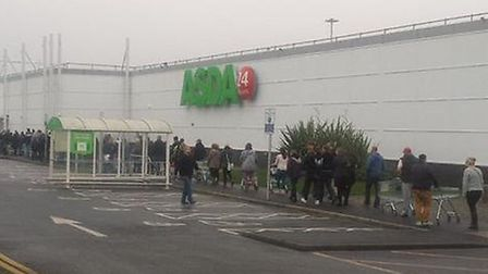 Shoppers queueing for Black Friday at Asda in Ipswich