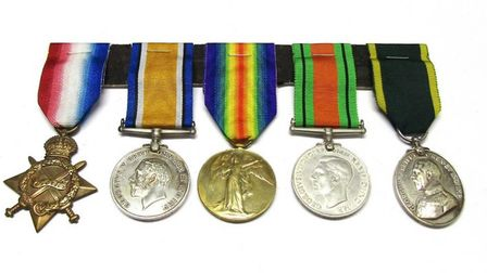 First and Second World War Norfolk Home Guard medal group that is one of the lots on sale in Diss. P