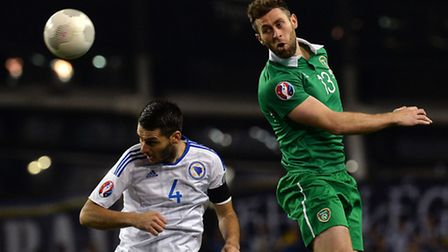Daryl Murphy, pictured in action for Ireland on Monday.