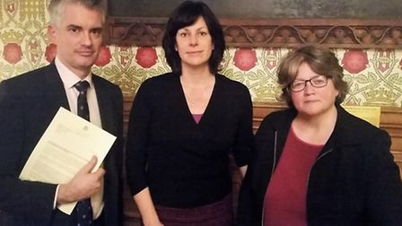 James Cartlidge, Claire Perry and Dr Therese Coffey at the meeting in Westminster.