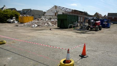 Demolition work under way at the site of the former Apollo club in Harleston. Picture: Simon Parkin