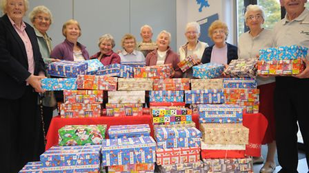Stowmarket Salvation Army over 60's club with some of the shoeboxes collected for operation Chistmas