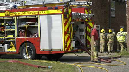 Fire crews at a blaze on Stanley Road in Diss. Picture: Simon Parkin