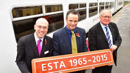MP Peter Aldous names a class 156 train the 'ESTA 1965-2015' in recognition of the Suffolk rail tra