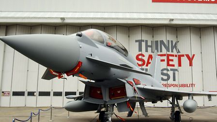 A Eurofighter Typhoon at BAE Systems' Warton Aerodrome in Lancashire. Photo: Peter Byrne/PA Wire
