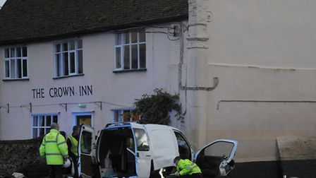 Emergency services at the scene after a van crashed into The Crown Pub in Snape.