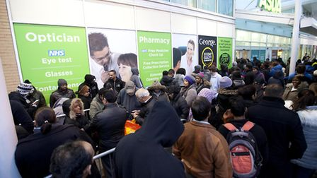Shoppers queuing at the Asda store in Wembley, north west London, ahead of last year's Black Friday