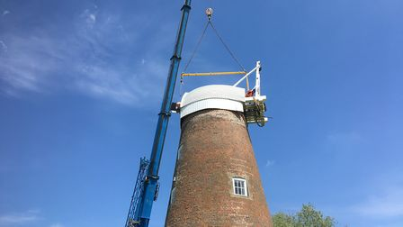 The cap back in place on top of Billingford Mill, near Diss, two years after beign removed for renov