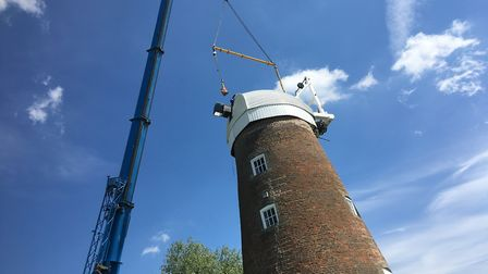 The cap back in place on top of Billingford Mill, near Diss. The new sails will be added later this