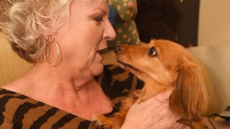 Bessie the dog who heroically stopped a burglar breaking in to a house in Ipswich. Pictured with Pat
