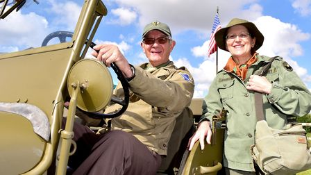 Tom and Jackie Perks at the Norfolk Tank Museum military vehicle weekend in 2017. Picture: Nick Butc