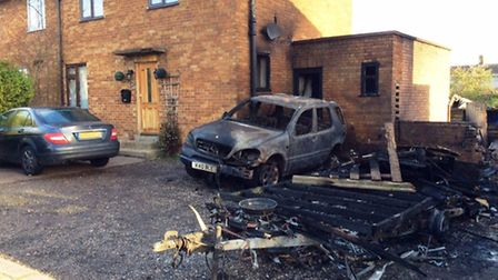 The scene of the fire in Baldwin Avenue, Bury St Edmunds early this morning