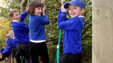 Pupils at Saxmundham Primary School play on the adventure trail donated by the friends of the school
