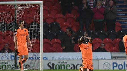 The U's react to conceding the second killer goal at Doncaster last weekend, with Tosin Olufemi look