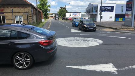 The junction between Vinces Road and Victoria Road in Diss that experiences congestion at rush hour.