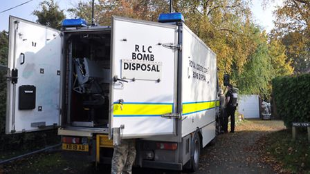 A bomb disposal unit at the property in Lady Lane, Hadleigh.