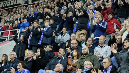 Town fans at The New York Stadium for the match against Rotherham