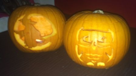A with, by Faith Brothers, 7, and an owl carved by sister Scarlett, 9