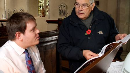 Composer Lee Merrit plays the organ at St Mary's Church, Ufford the village is the subject of his ne