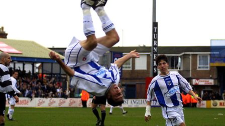 Scott McGleish celebrates a goal against QPR, back in 2002, with one of his familiar somersaults