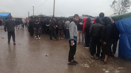 Jack Abbott, left, said that while conditions in the refugee camp in Calais had improved compared to