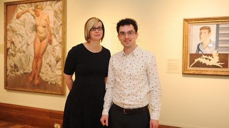 Jayne Austin and Caleb Howgego from Suffolk and Colchester museums with works by Lucien Freud on loa