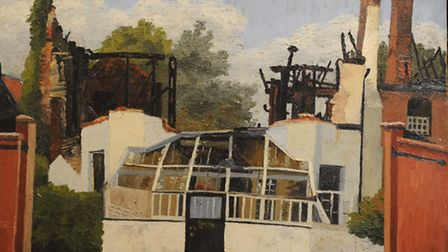 Gutted Art School, Dedham by Cedric Morris. Did Lucien Freud's discarded cigarette start the fire wh