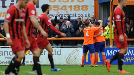 Braintree Town v Oxford United - FA Cup action. Braintree score.