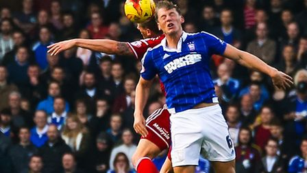 Christophe Berra battles for a high ball during the Ipswich Town v Cardiff City (Championship) matc